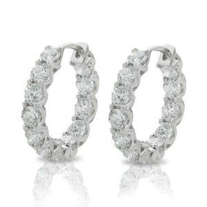 Jewelry - 4.80 ct diamonds HOOP earrings sparkling round cut